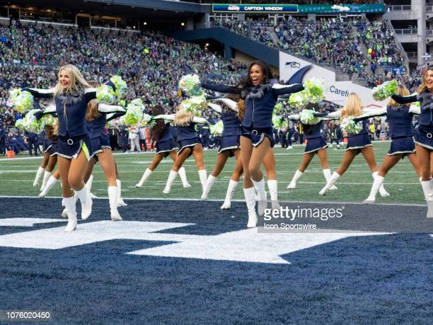 Seattle Seahawks Seagals cheerleaders during the NFL football game between the Arizona Cardinals and the Seattle Seahawks on December 30 2018 at...