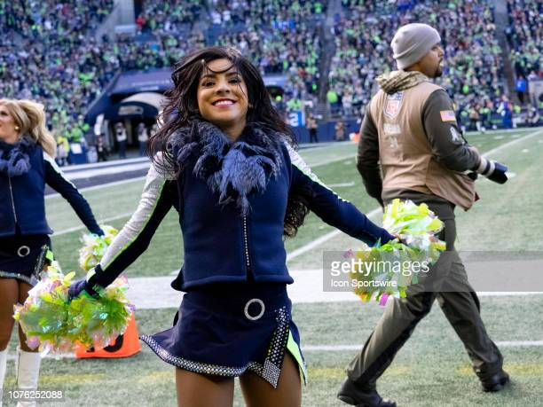 Seattle Seahawks Seagals cheerleads during the NFL football game between the Arizona Cardinals and the Seattle Seahawks on December 30 2018 at...