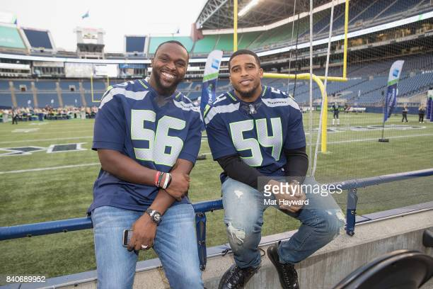 Seattle Seahawks stars Cliff Avril and Bobby Wagner greet hundreds of fans and Seattle business owners during American Express Dinner on the 50 at...