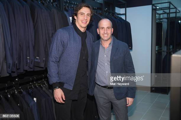 Seattle Seahawks Tight End Luke Willson and Saks OFF 5th and Gilt President Jonathan Greller pose for a photo during the Saks OFF 5th Seattle VIP...