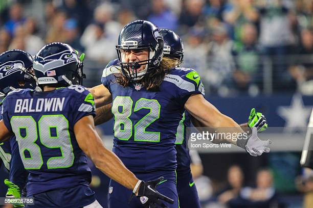 Seattle Seahawks tight end Luke Willson celebrates a touchdown but he was ruled down during the game between the Dallas Cowboys and the Seattle...