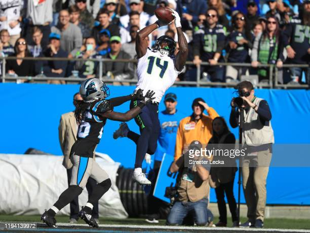 Seattle Seahawks wide receiver DK Metcalf catches the ball for a touchdown in the first quarter against Carolina Panthers in the game at Bank of...