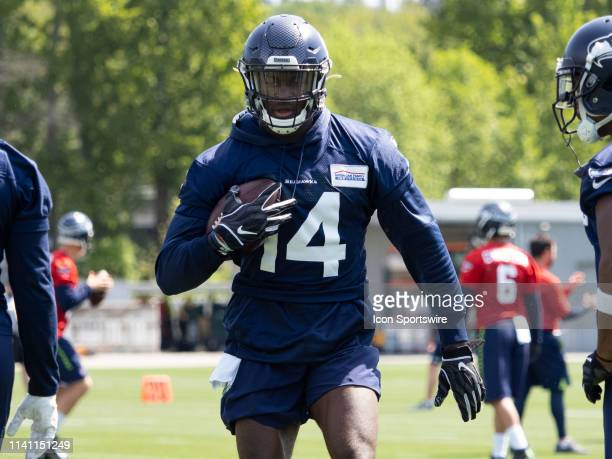Seattle Seahawks wide receiver DK Metcalf completes a pass during the Seahawks Rookie MiniCamp on May 04 at Virginia Mason Athletic Center in Renton...