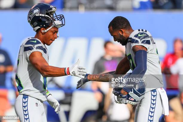 Seattle Seahawks wide receiver Tyler Lockett and Seattle Seahawks wide receiver Paul Richardson on the field prior to the National Football League...