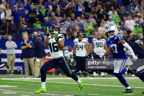 Seattle Seahawks wide receiver Tyler Lockett makes a 69 yard touchdown reception against the Indianapolis Colts during the second quarter at Lucas...