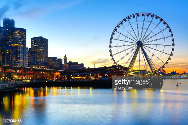 seattle seaport sunrise at pier 57 - ferris wheel stock pictures, royalty-free photos & images
