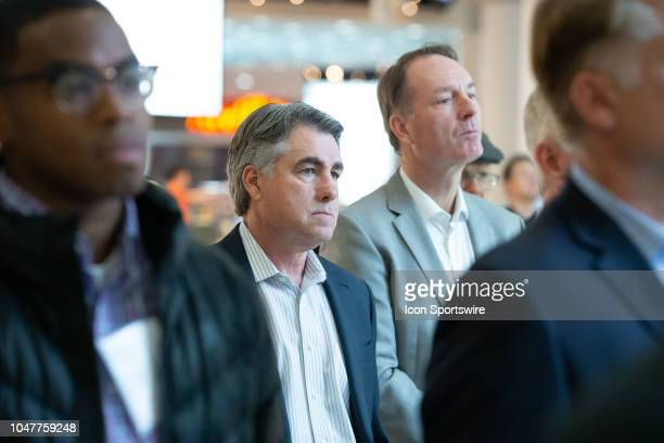 Seattle senior advisor Dave Tippett watches a press conference to announce the potential team training facility at Northgate Mall on October 8 2018...