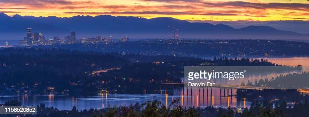 seattle skyline and lake washington - bellevue skyline stock pictures, royalty-free photos & images