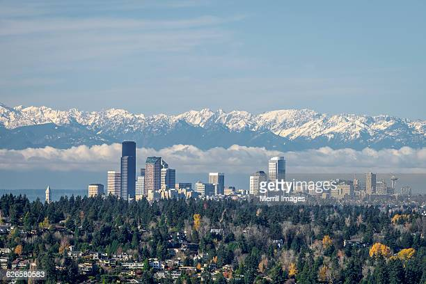 seattle skyline, and olympic mountains. - bellevue skyline stock pictures, royalty-free photos & images