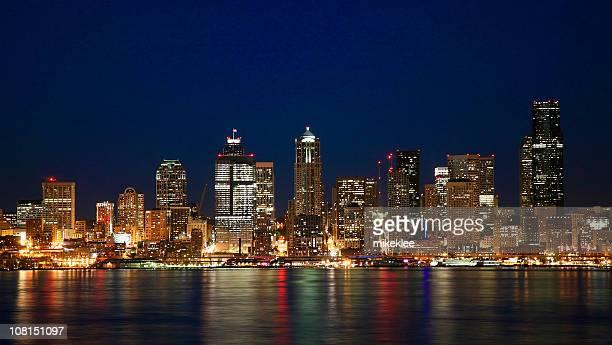 Seattle skyline at night.