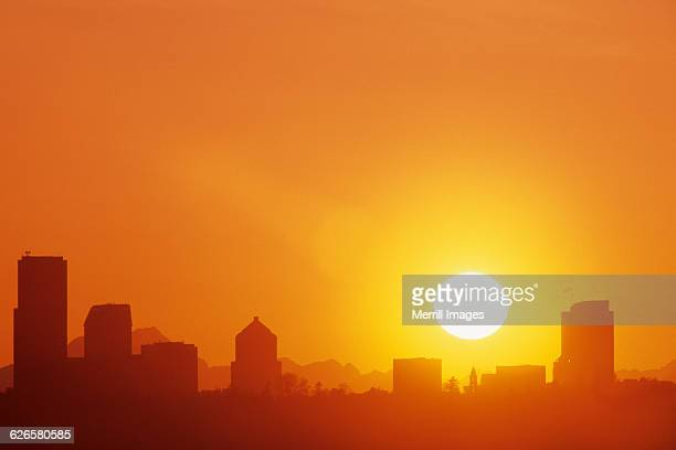 seattle skyline at sunset. - bellevue skyline stock pictures, royalty-free photos & images