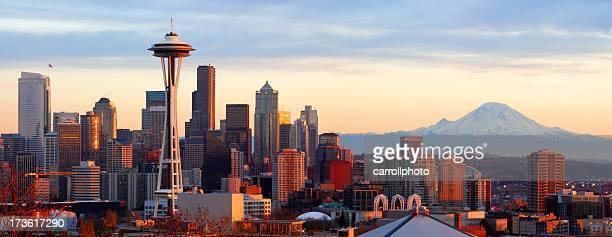 skyline di seattle-panorama - seattle foto e immagini stock