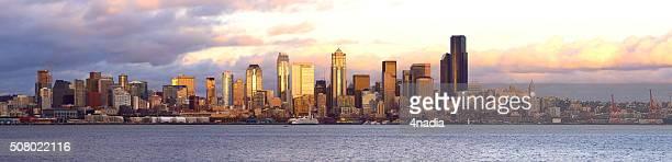 Seattle Skyline Panoramic at Sunset