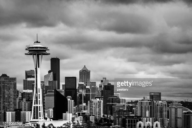"""seattle skyline under storm clouds - """"peeter viisimaa"""" or peeterv stock pictures, royalty-free photos & images"""
