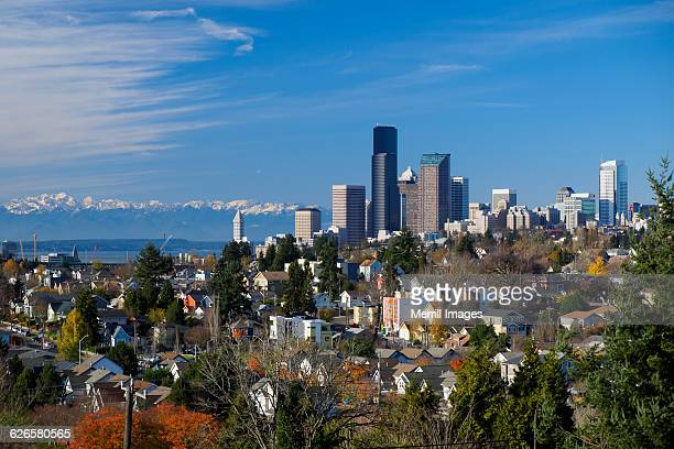 seattle, skyline view of downtown - bellevue skyline stock pictures, royalty-free photos & images