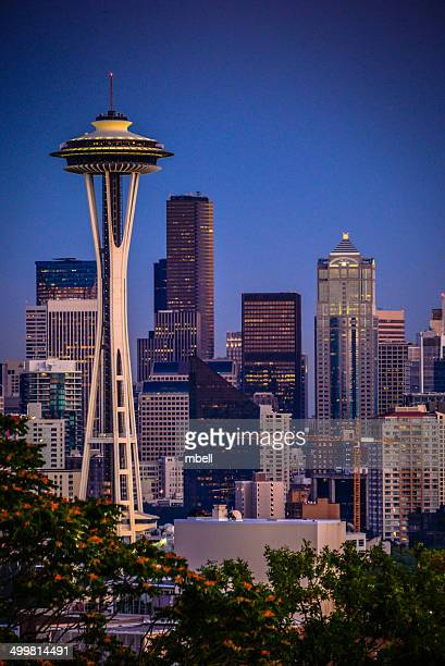 seattle skyline with space needle from kerry park - space needle stock-fotos und bilder