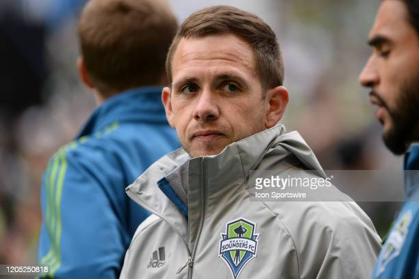 Seattle Sounder Harry Shipp warms up during a MLS match between the Chicago Fire and the Seattle Sounders at Century Link Field in Seattle WA