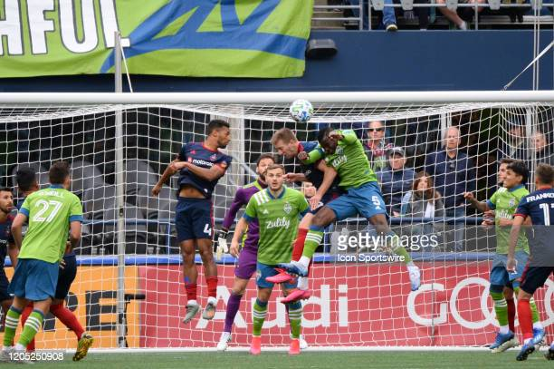Seattle Sounder Nouhou goes up for a Seattle corner kick during a MLS match between the Chicago Fire and the Seattle Sounders at Century Link Field...