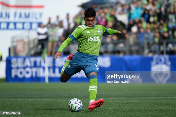 Seattle Sounder Xavier Arreaga in action during a MLS match between the Chicago Fire and the Seattle Sounders at Century Link Field in Seattle WA