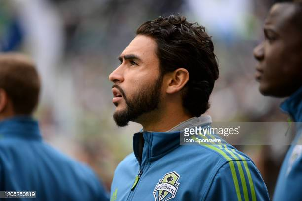 Seattle Sounders Alex Roldan warms up during a MLS match between the Chicago Fire and the Seattle Sounders at Century Link Field in Seattle WA