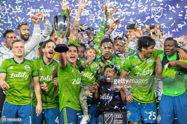 Seattle Sounders celebrate winning the MLS Western Conference Final between Los Angeles FC and Seattle Sounders at the Banc of California Stadium on...