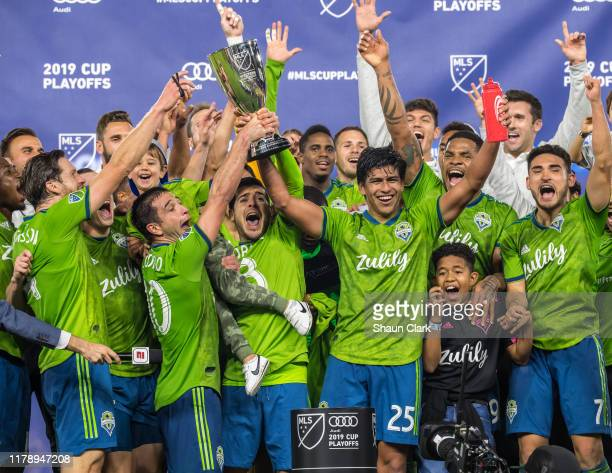 Seattle Sounders celebrates the MLS Western Conference Final between Los Angeles FC and Seattle Sounders at the Banc of California Stadium on October...