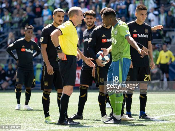 Seattle Sounders defender Kelvin Leerdam revives a red card during the MLS regular season match between Los Angeles FC and Seattle Sounders FC on...