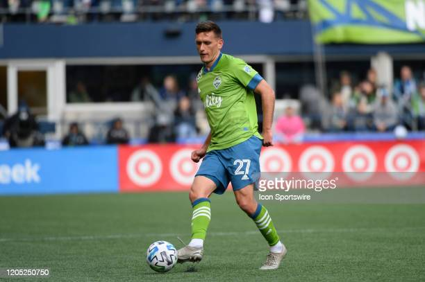 Seattle Sounders defender Shane O'Neill in action during a MLS match between the Chicago Fire and the Seattle Sounders at Century Link Field in...
