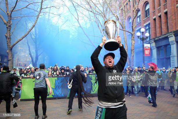 Seattle Sounders fans attend their traditional game-day March to the Match prior to their season opener against the Chicago Fire at CenturyLink Field...