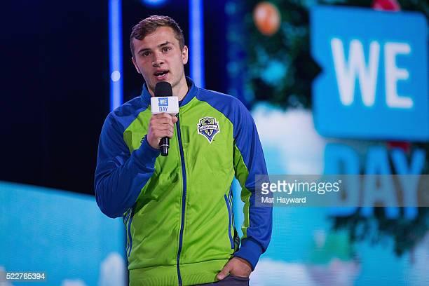 Seattle Sounders FC forward Jordan Morris speaks on stage during We Day at KeyArena on April 20 2016 in Seattle Washington