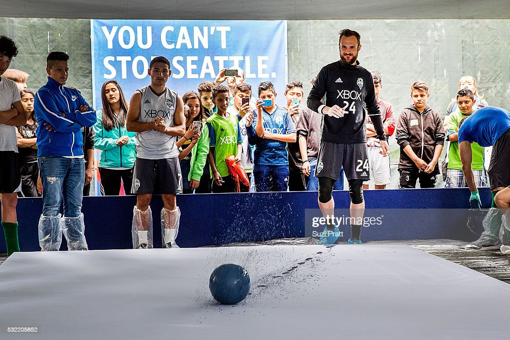Seattle Sounders FC goalkeeper Stefan Frei kicks off 'The Fabric of Sounders FC' design project uniting community, art, and sport with Seattle Sounders FC and Delta Air Lines on May 18, 2016 in Seattle, Washington.