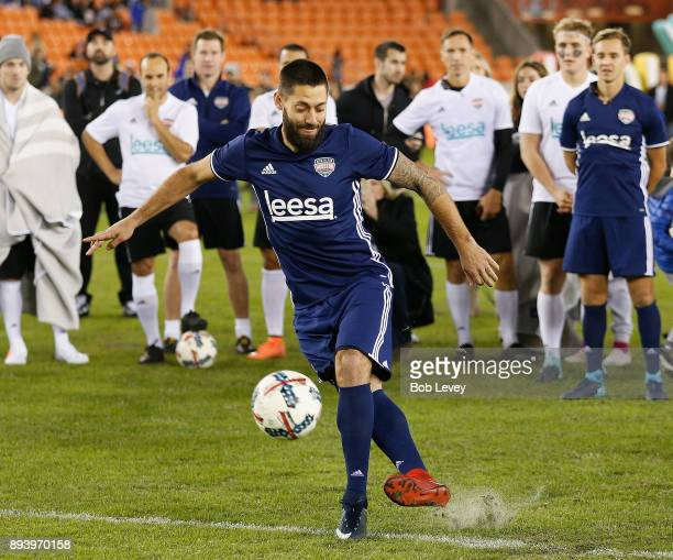 Seattle Sounders forward Clint Dempsey strikes the ball with his back foot during the Skillz Challenge during the Kick In For Houston Charity Soccer...