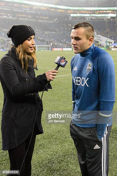 Seattle Sounders forward Jordan Morris is interviewed in the rain on the field after the Sounders beat the Colorado Rapids at CenturyLink Field on...