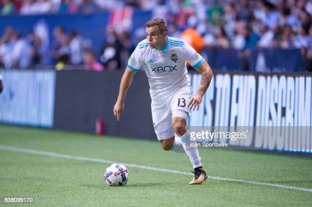 Seattle Sounders forward Jordan Morris runs with the ball during their match against the Vancouver Whitecaps at BC Place on August 23 2017 in...