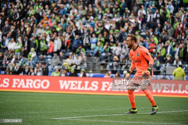Seattle Sounders goalkeeper looks on from goal during a MLS match between the Chicago Fire and the Seattle Sounders at Century Link Field in Seattle...