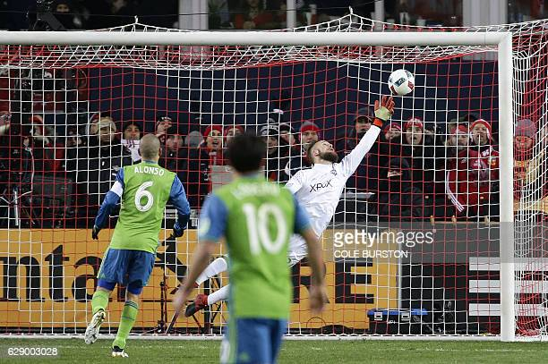 Seattle Sounders goalkeeper Stefan Frei makes a save in overtime during MLS Cup final against Toronto FC at BMO Field on December 10 2016 in Toronto...
