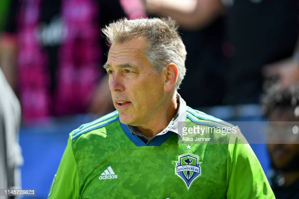 Seattle Sounders guest former Seattle Seahawk quarterback Jim Zorn checks out the field before the match agains the Los Angeles FC at CenturyLink...
