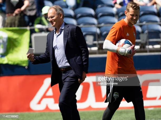 Seattle Sounders head coach Brian Schmetetzer takes the field before the MLS regular season match between Los Angeles FC and Seattle Sounders FC on...