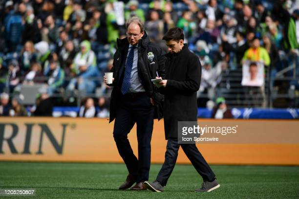 Seattle Sounders head coach Brian Schmetzer gets a walking interview at the end of halftime of a MLS match between the Chicago Fire and the Seattle...