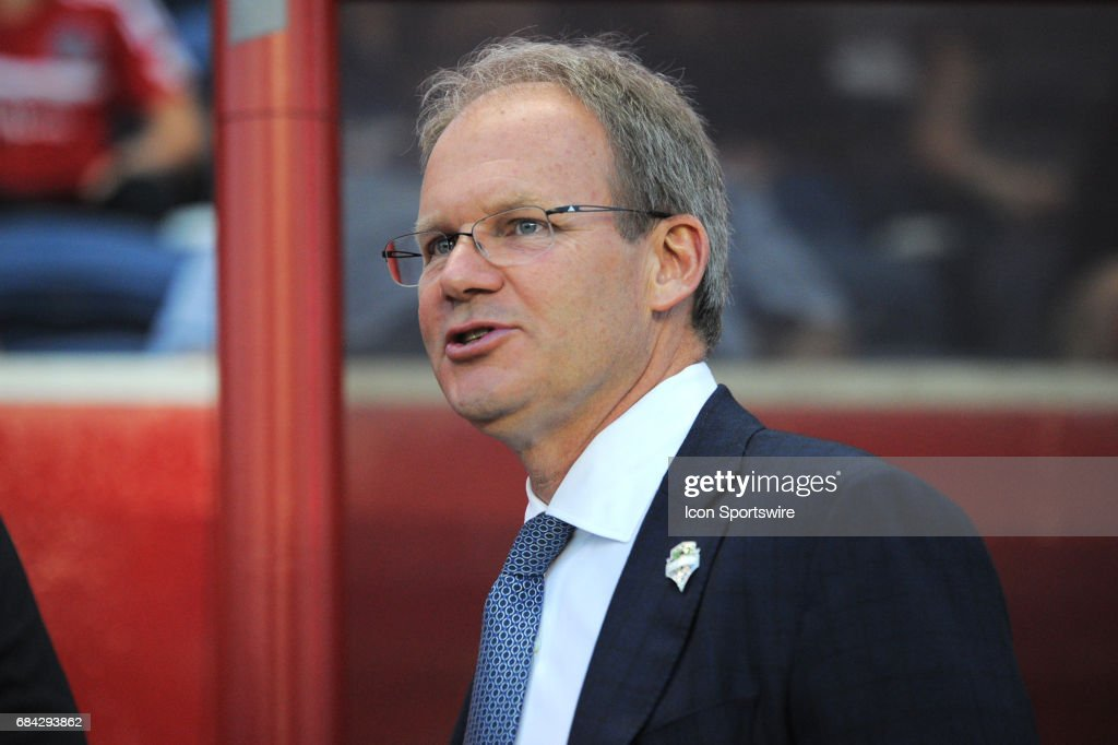 Seattle Sounders head coach Brian Schmetzer prior to a game against the Seattle Sounders and the Chicago Fire on May 13, 2017, at Toyota Park, in Bridgeview, IL. Fire won 4-1.