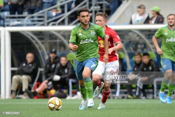 Seattle Sounders midfielder Cristian Roldan in action during a MLS match game between the New York Red Bull and the Seattle Sounders kn September 15...