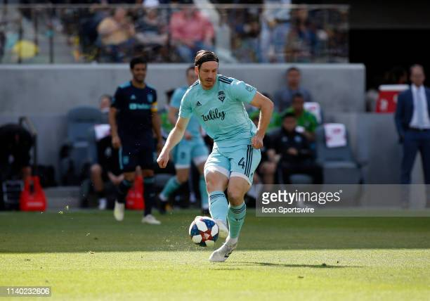 Seattle Sounders midfielder Nicolas Lodeiro passes the ball during the game against the Los Angeles FC on April 21 at Banc of California Stadium in...