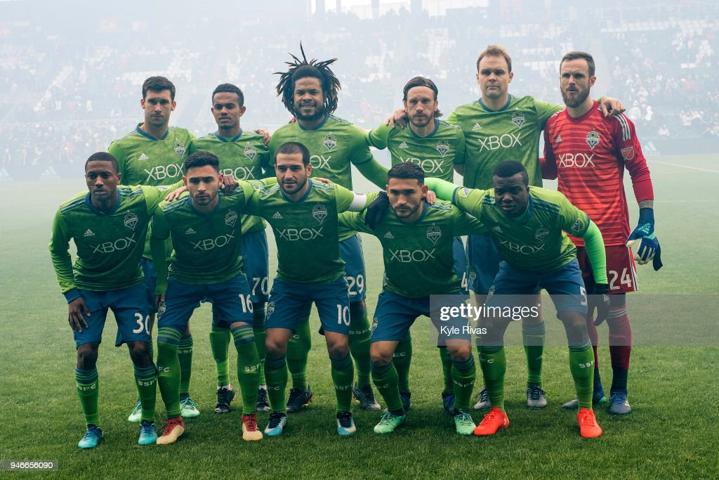 Seattle Sounders pose for a photo before taking on the Sporting Kansas City on April 15, 2018 at Children's Mercy Park in Kansas City, Kansas.