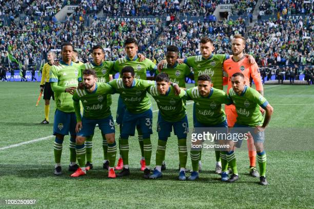 Seattle Sounders starting eleven before an MLS match between the Chicago Fire and the Seattle Sounders at Century Link Field in Seattle WA