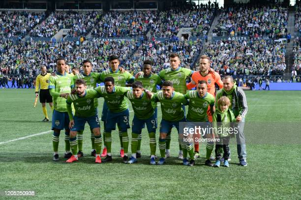 Seattle Sounders starting eleven with the teams guests before an MLS match between the Chicago Fire and the Seattle Sounders at Century Link Field in...