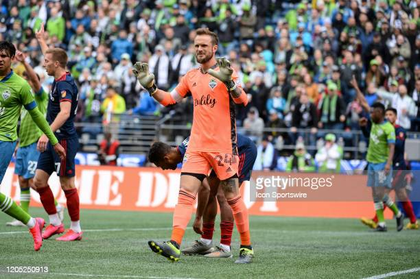 Seattle Sounders Stefan Frei gestures to settle his team down during a MLS match between the Chicago Fire and the Seattle Sounders at Century Link...