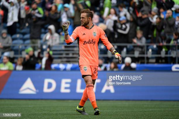Seattle Sounders Stefan Frei seen between plays during a MLS match between the Chicago Fire and the Seattle Sounders at Century Link Field in Seattle...