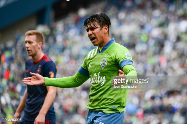 Seattle Sounders Zavier Arreaga voices his displeasure to the referee during a MLS match between the Chicago Fire and the Seattle Sounders at Century...