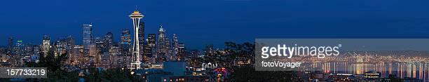 Seattle Space Needle cityscape illuminated night