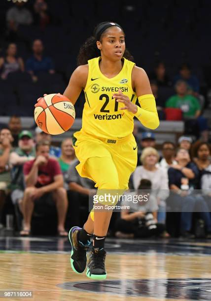 Seattle Storm Guard Jordin Canada caries the ball up court during a WNBA game between the Minnesota Lynx and Seattle Storm on June 26 2018 at Target...